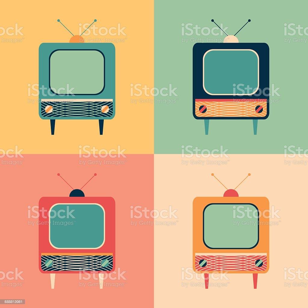 Colorful set of retro TVs. vector art illustration