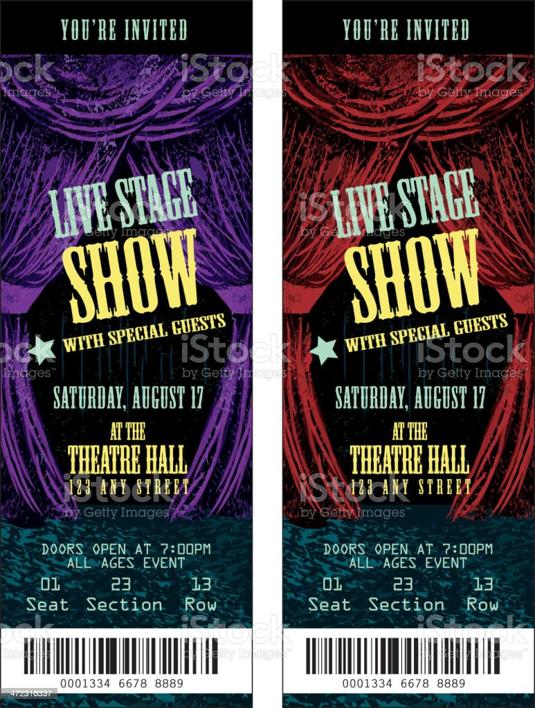 Colorful set of theatre show ticket templates vector art illustration
