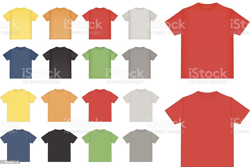 Colorful shirts pattern in rows royalty-free stock vector art