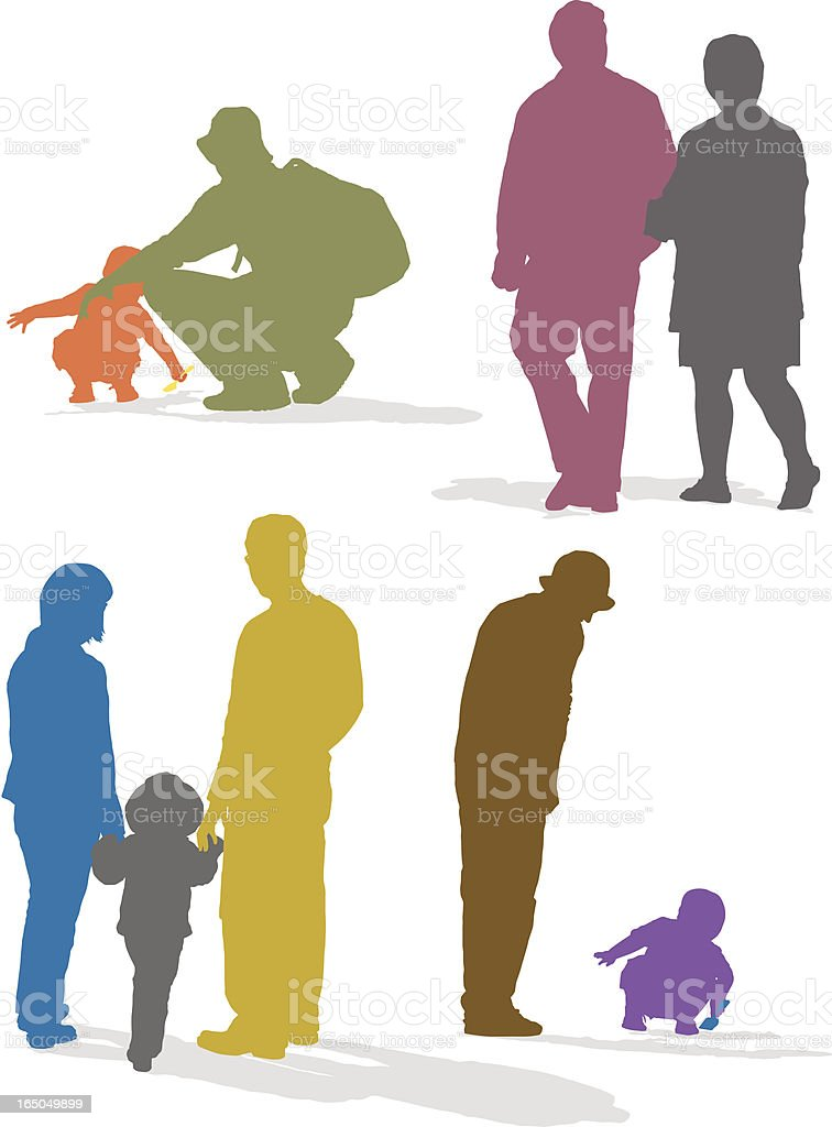 Colorful silhouette illustrations of people at the park royalty-free stock vector art