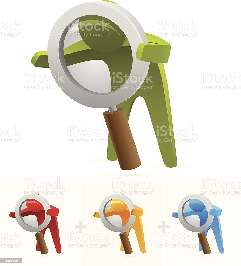 3-D colorful silhouettes looking through magnifying glasses royalty-free stock vector art