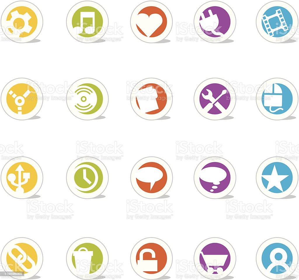 Colorful Simple Web Icons 2 (Vector) vector art illustration