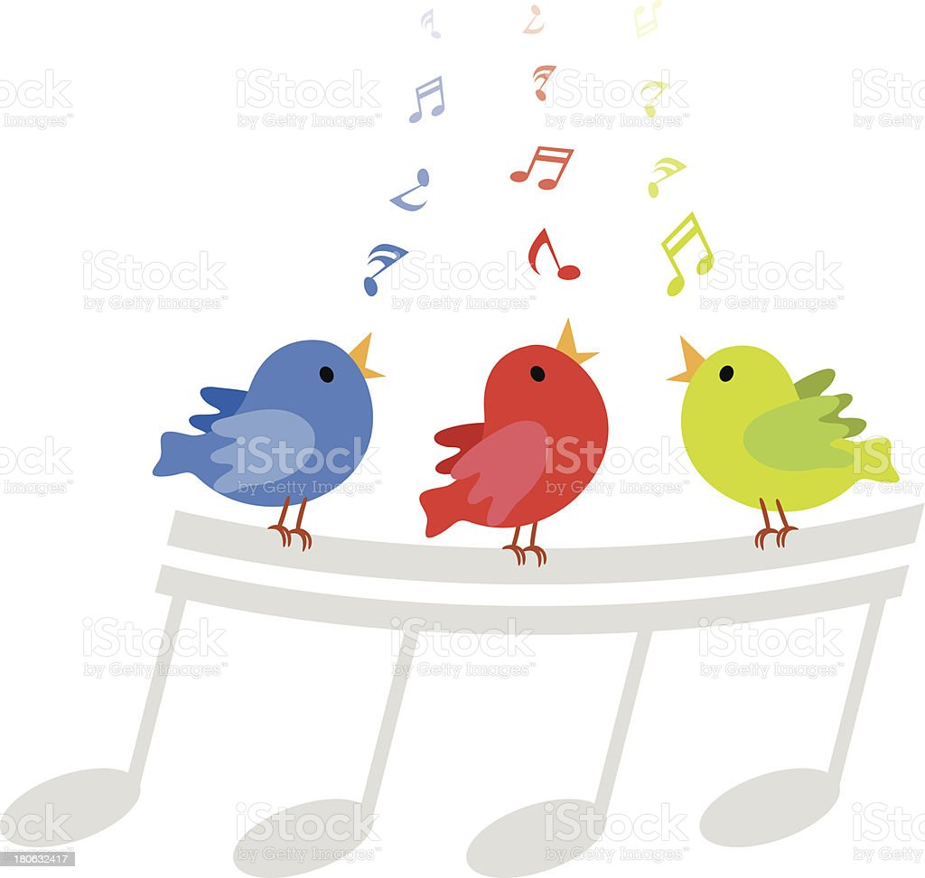 Colorful singing birds cartoon vector art illustration