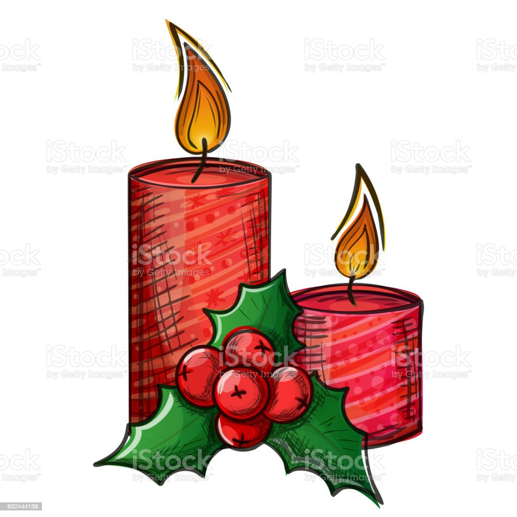 Colorful sketch of Christmas candle and holly vector art illustration