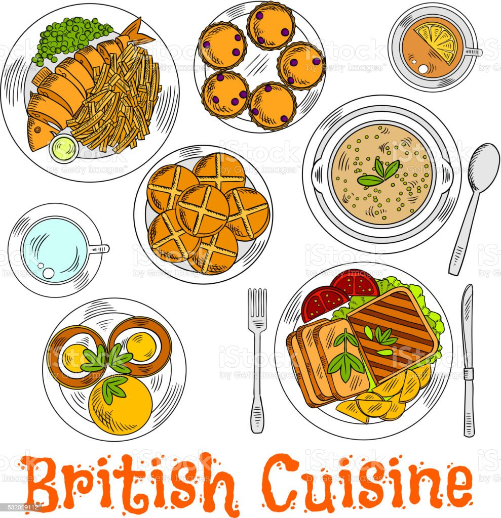 Colorful sketch of english sunday dinner vector art illustration