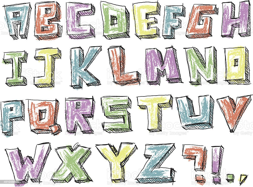 Colorful sketchy hand drawn alphabet royalty-free stock vector art