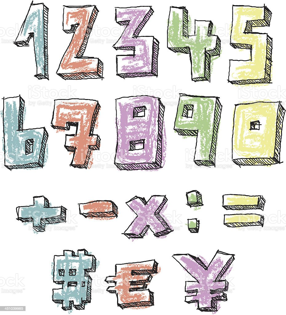 Colorful sketchy hand drawn numbers vector art illustration