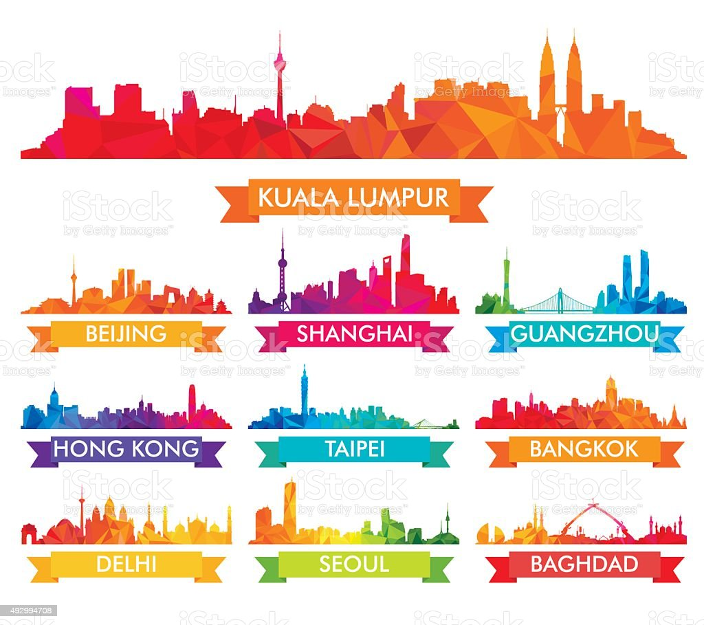 Colorful Skyline of Asian Cities vector art illustration