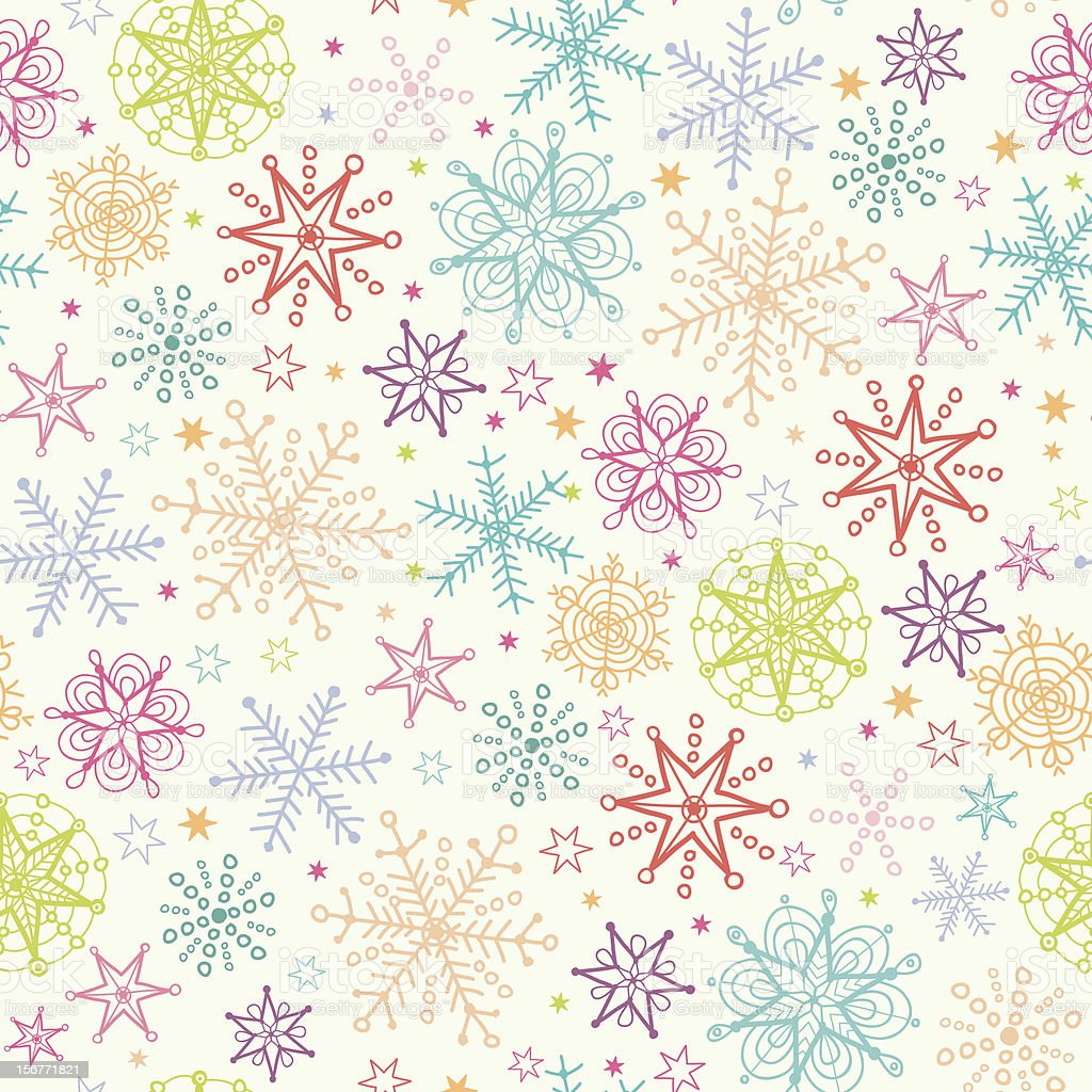 Colorful Snowflakes Seamless Pattern royalty-free stock vector art
