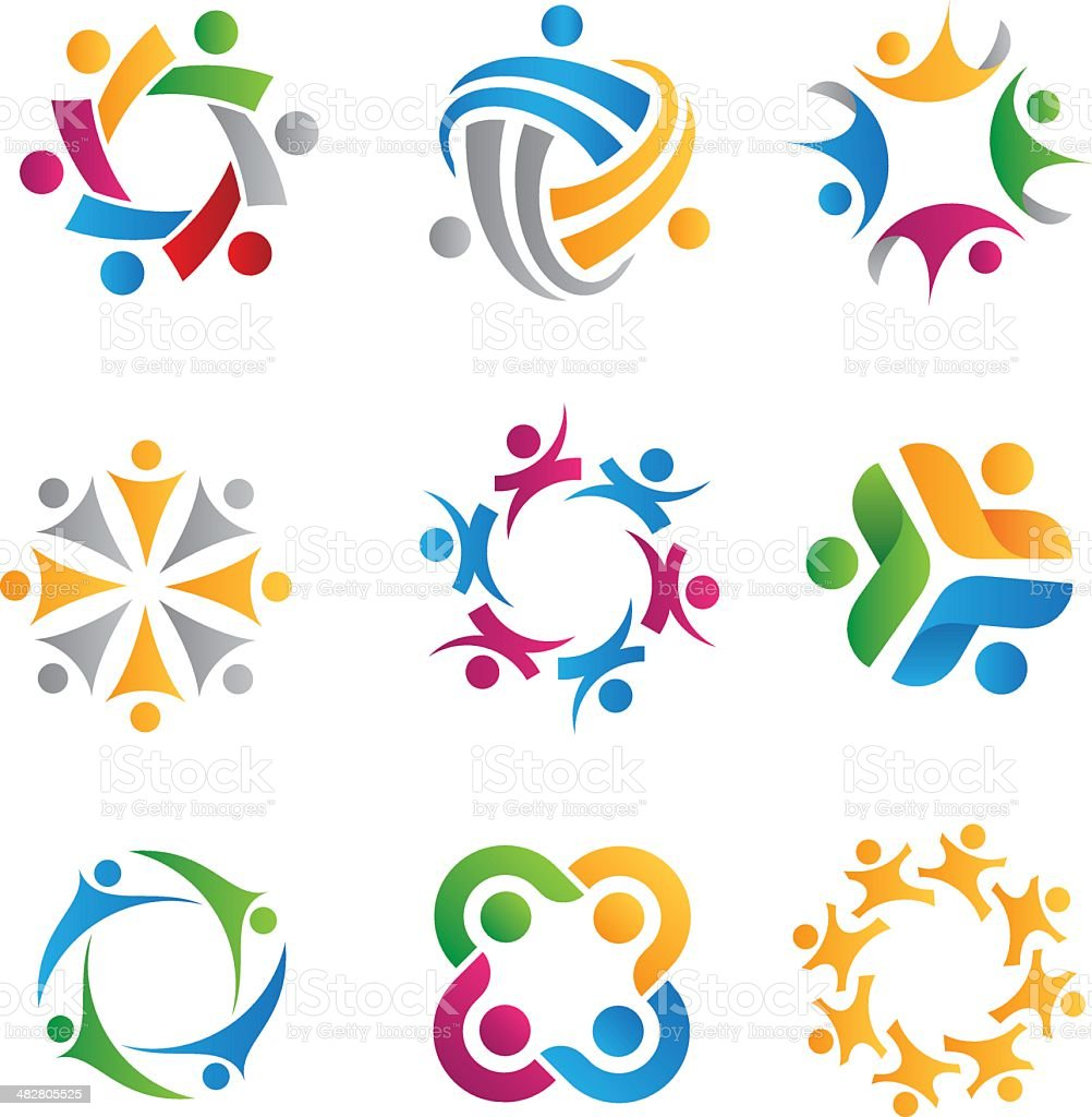 Colorful social icons on white background vector art illustration