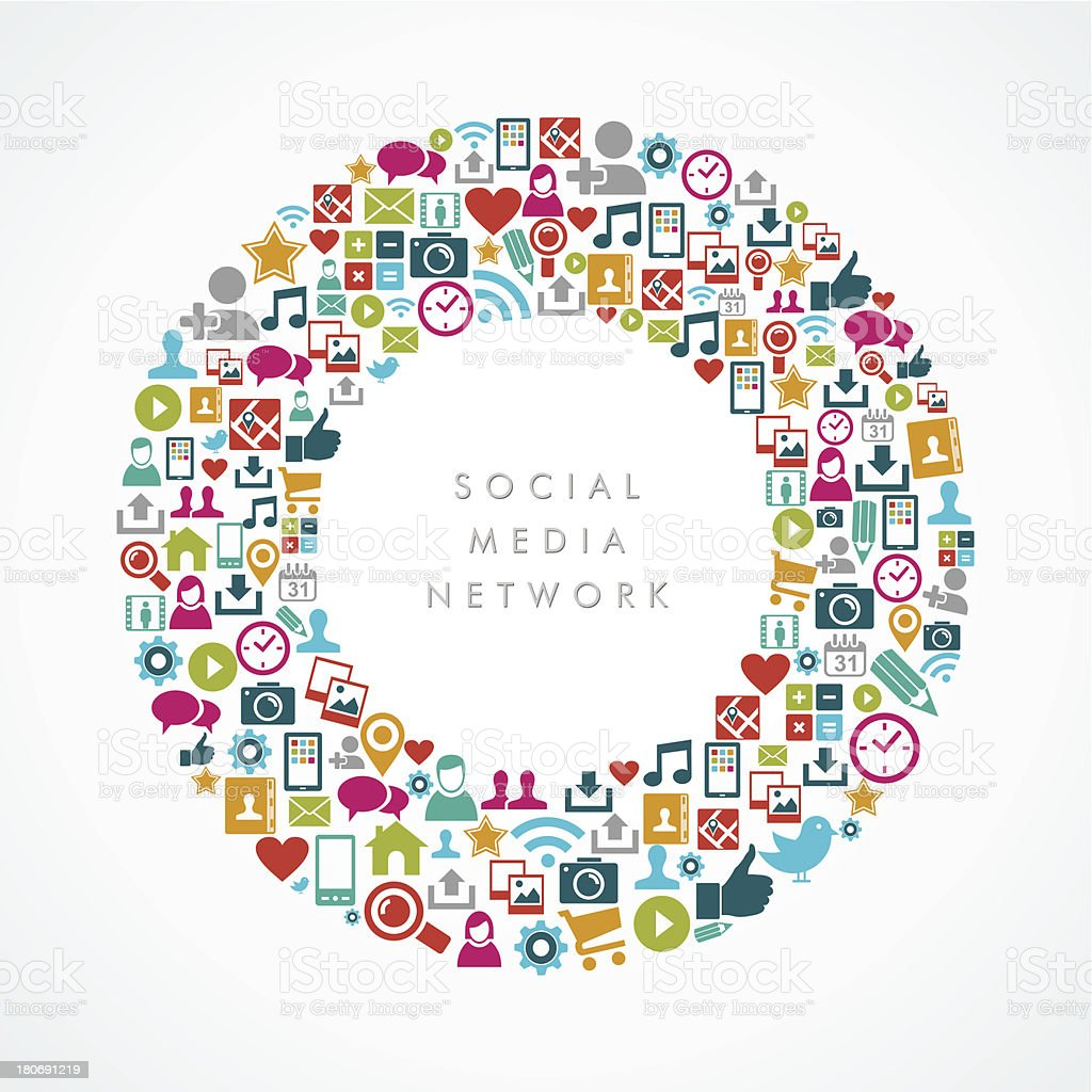 Colorful social media network icons round shape composition background. royalty-free stock vector art