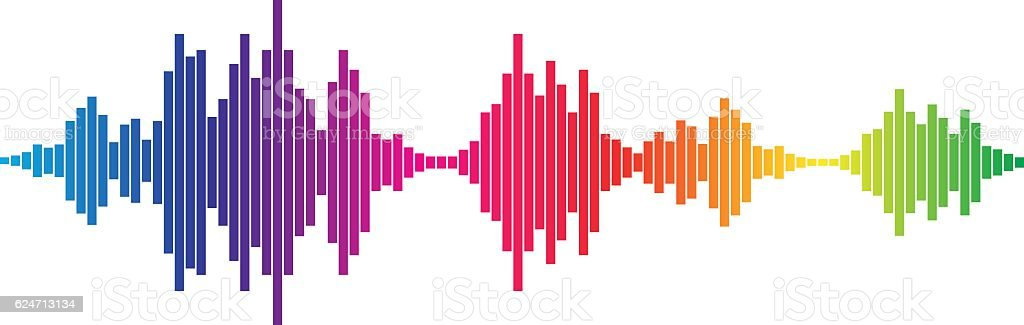 Colorful Sound waves vector art illustration