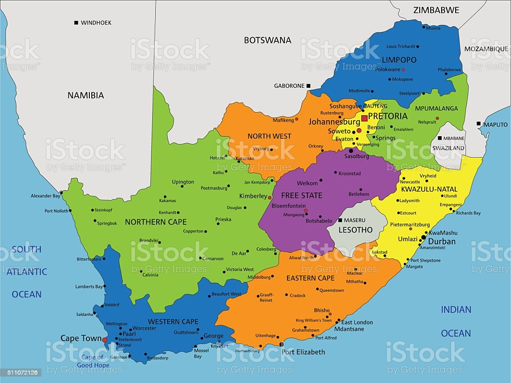 Colorful South Africa political map with clearly labeled, separated layers. vector art illustration