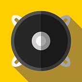 Colorful speaker icon in modern flat style with long shadow