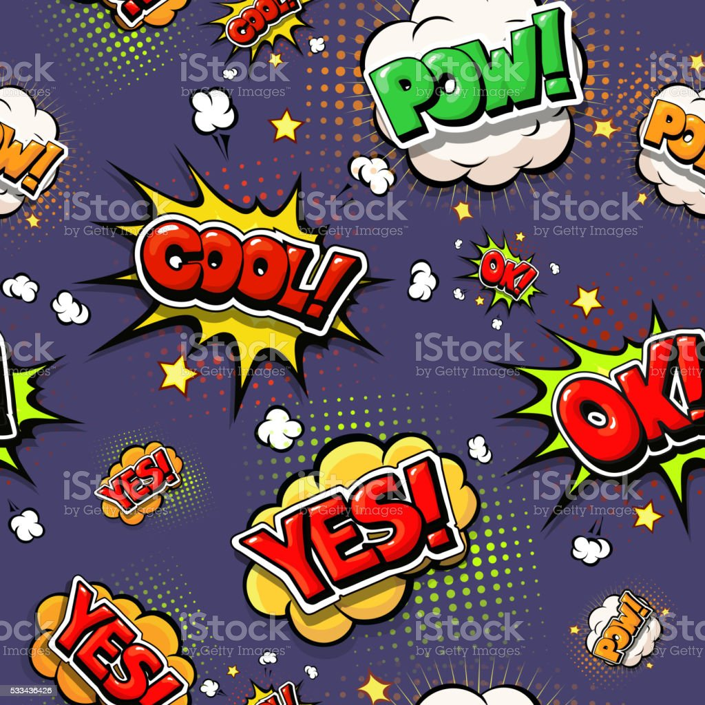 Colorful speech bubbles and explosions in pop art style. vector art illustration