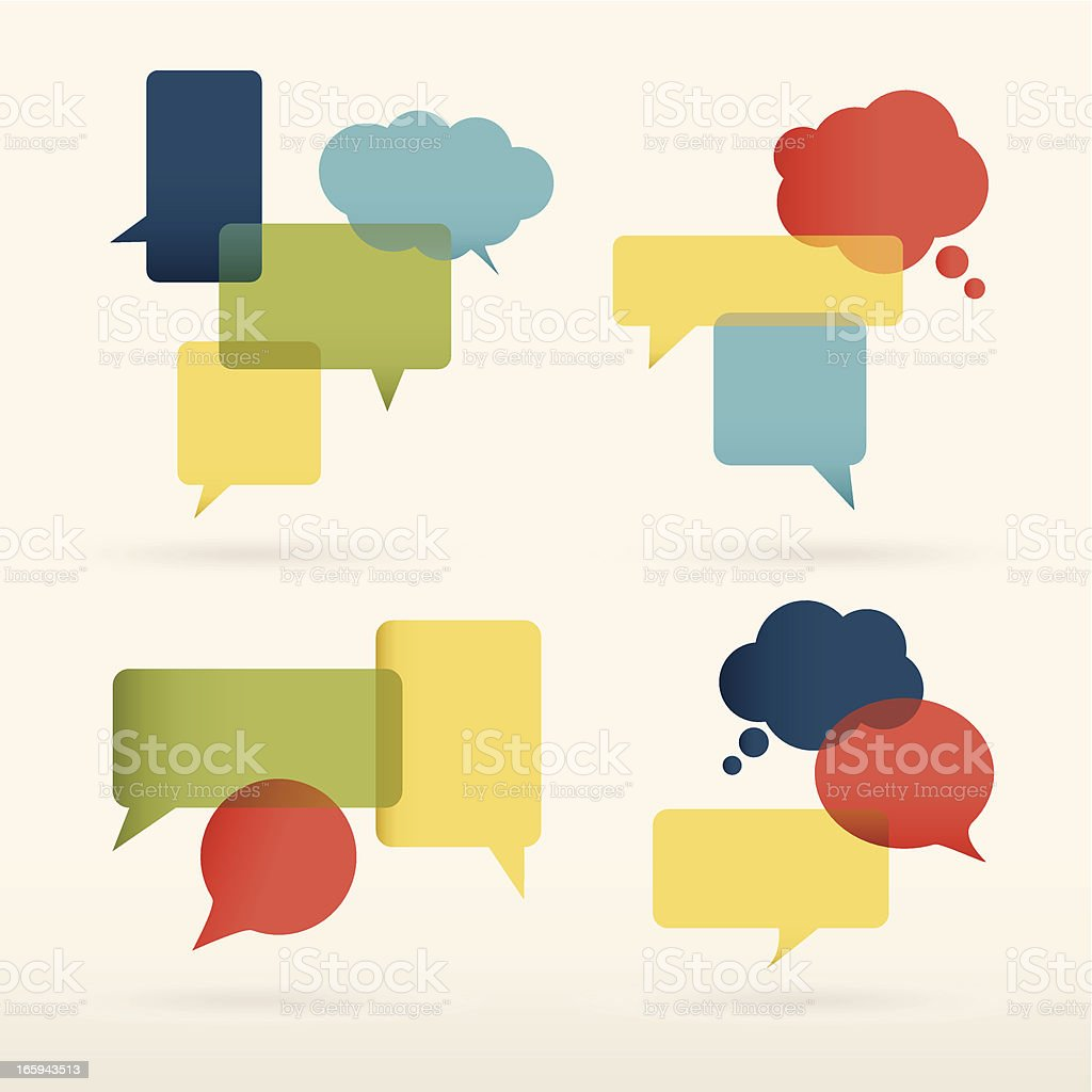 Colorful speech bubbles design vector art illustration