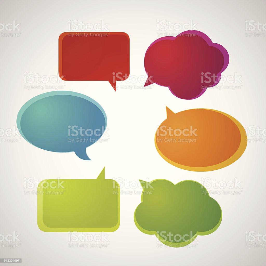 colorful speech bubbles vector art illustration