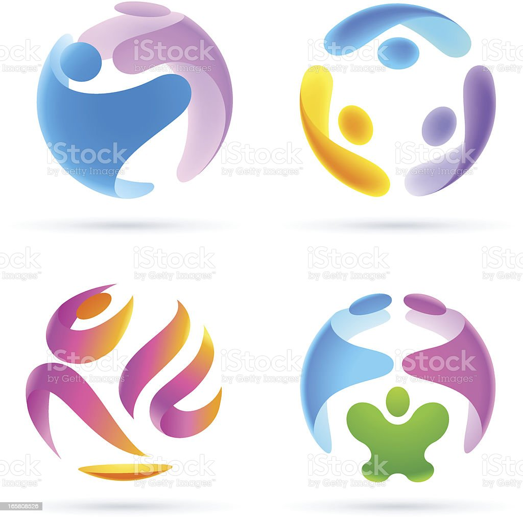 Colorful spheres made of shapes of people royalty-free stock vector art