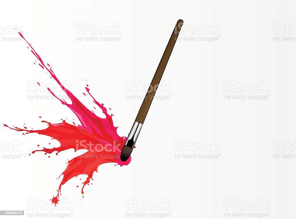 Colorful splash from brush vector art illustration