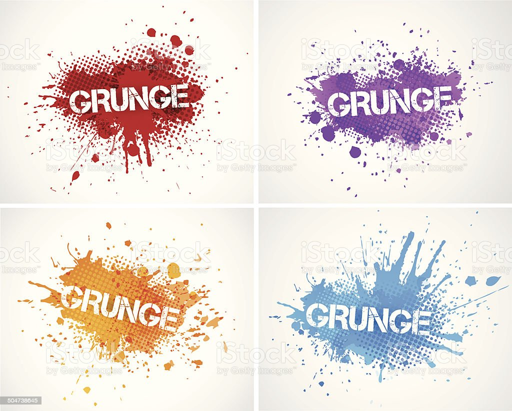 Colorful splashes vector art illustration