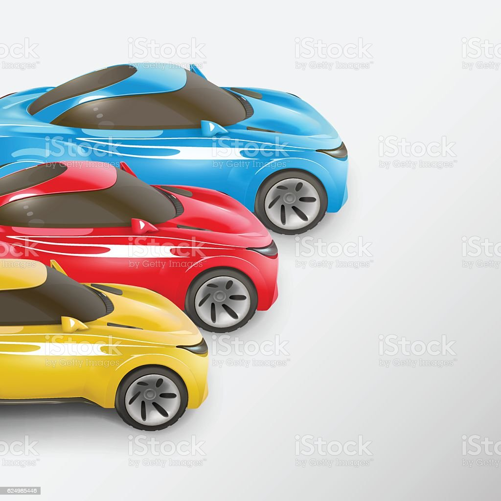 Colorful sport cars in a row. Vector illustration vector art illustration