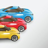 Colorful sport cars in a row. Vector illustration