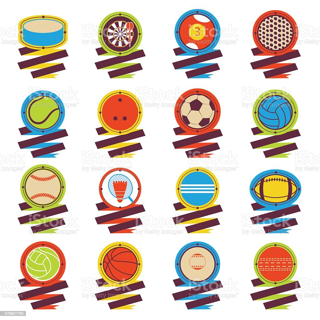 Colorful Sports Balls logo. Football, basketball, golf, volleyball,...