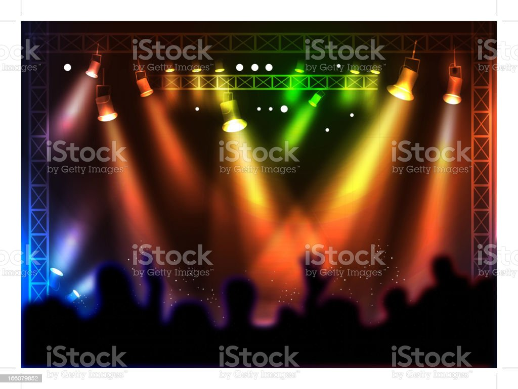 Colorful spotlights over a silhouette crowd at a concert vector art illustration