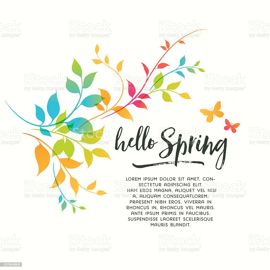 Colorful Spring Flourishes vector art illustration