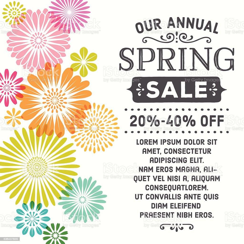 Colorful Spring Flowers Invitation vector art illustration