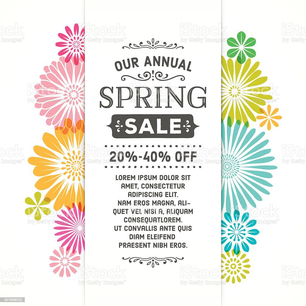 Colorful Spring Graphic Flower Banner vector art illustration