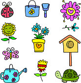 Colorful spring set of doodles