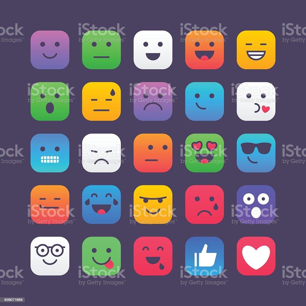 Colorful Square Emoji set 1 vector art illustration
