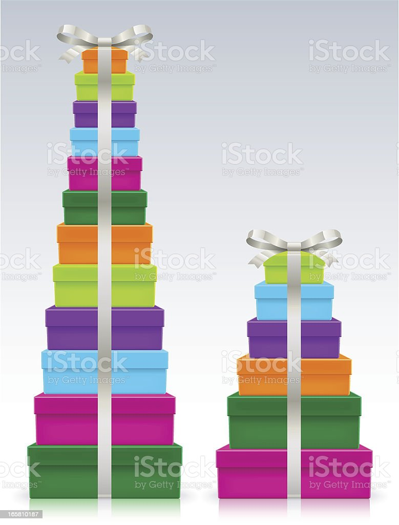 Colorful stack of presents with ribbon vector art illustration