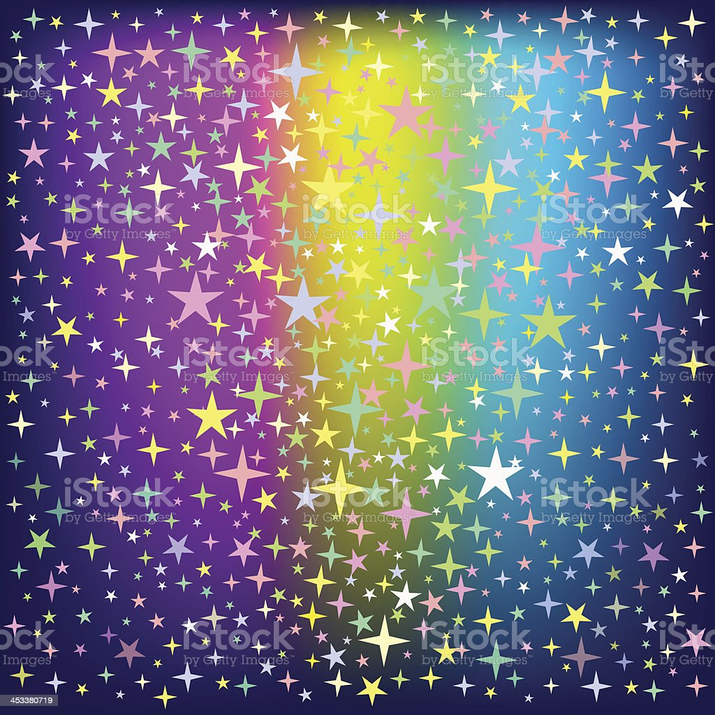 Colorful Star Rain on Glowing Background royalty-free stock vector art