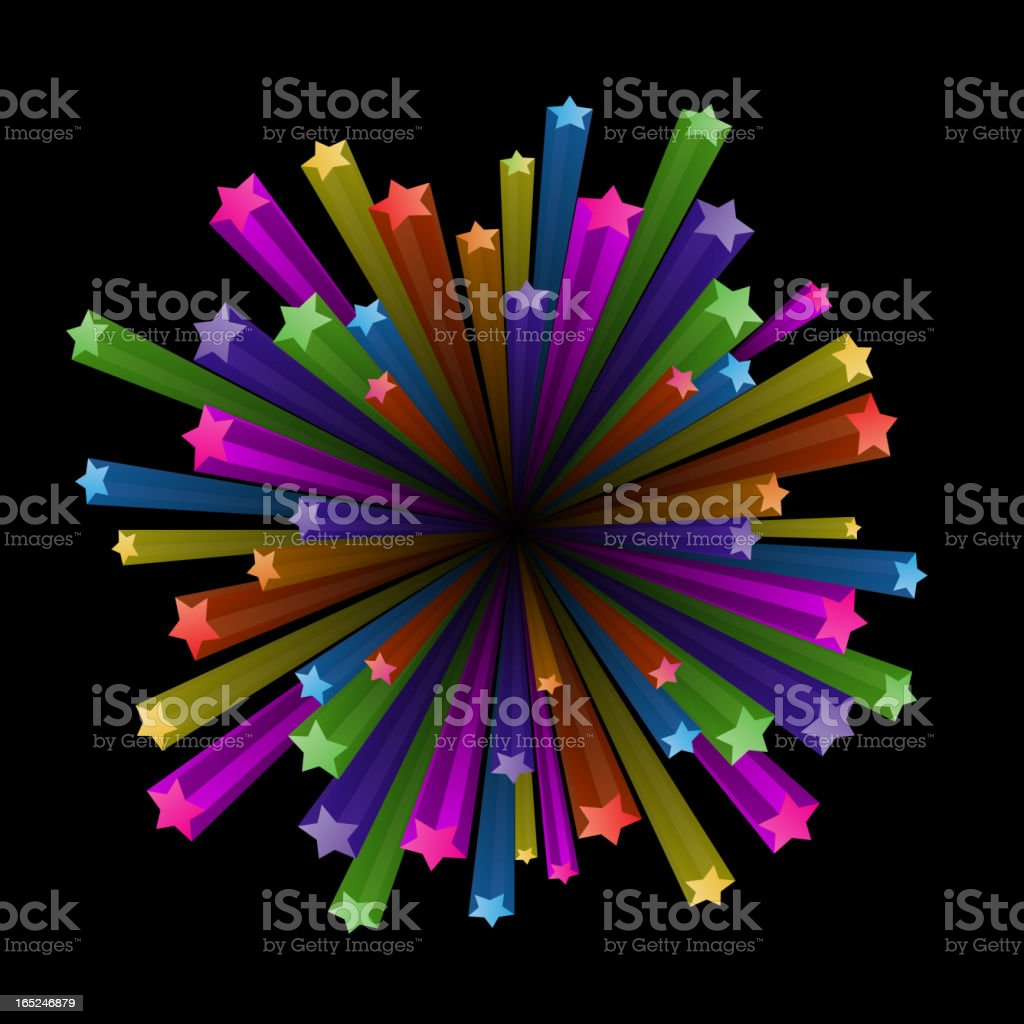 Colorful stars explode royalty-free stock vector art