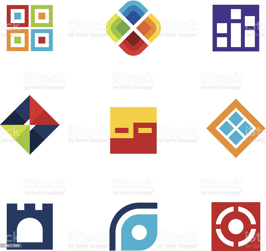 Colorful startup innovation idea icon set business abstract logo vector vector art illustration