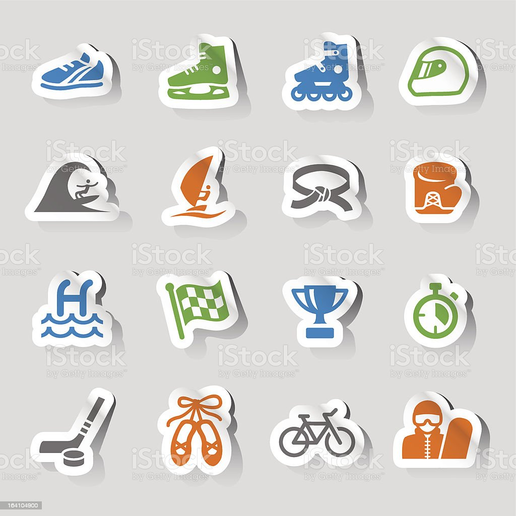 Colorful sticker sports icons on a gray background vector art illustration
