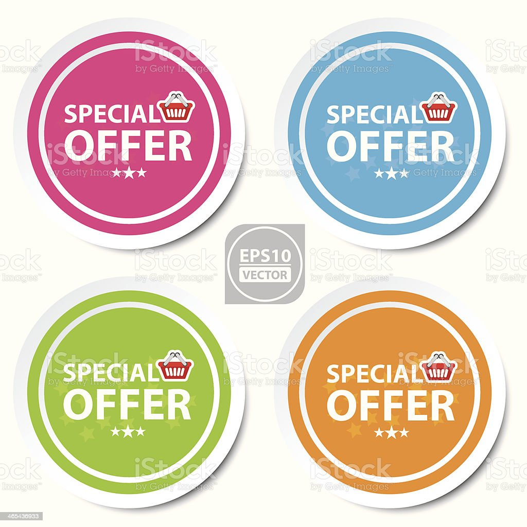 Colorful stickers, icons, label, banner of special offer. royalty-free stock vector art