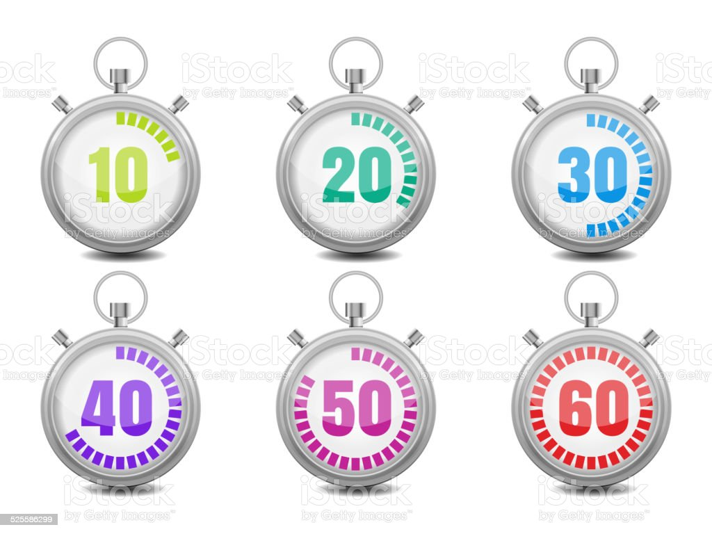 Colorful Stopwatches vector art illustration