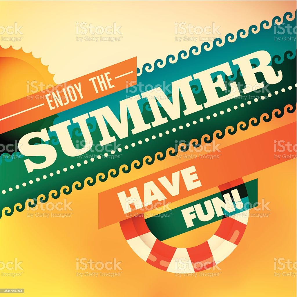 Colorful summer background with modern design. vector art illustration