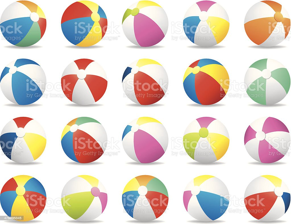 Colorful Summer Beach Ball Vector Illustration Collection Set royalty-free stock vector art