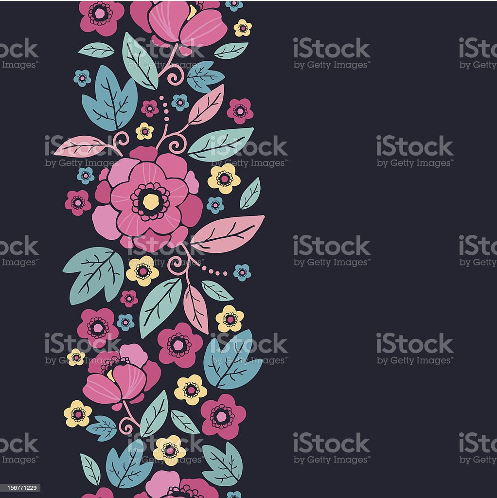 Colorful summer floral vertical seamless pattern royalty-free stock vector art