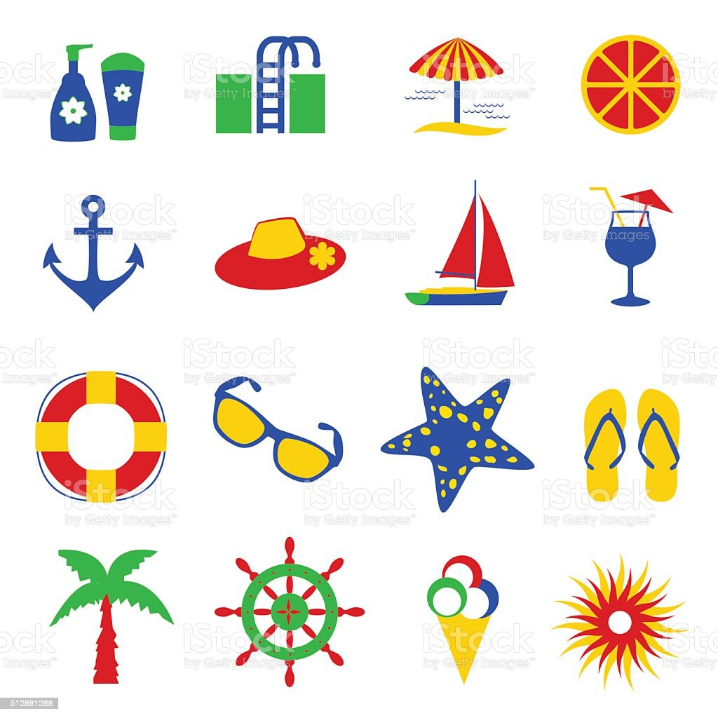 Colorful summer icons vector art illustration
