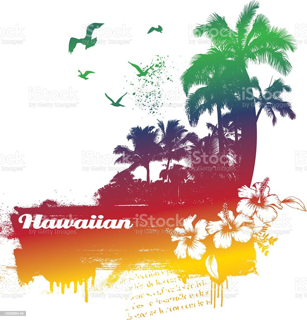 Colorful summer scene with the word Hawaiian vector art illustration