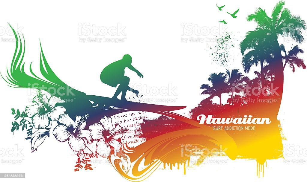 colorful surf and summer scene with rider vector art illustration