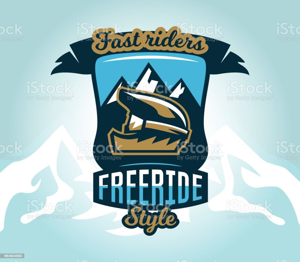 Colorful symbol, emblem, sticker, extreme cyclist helmet on a background of mountains, isolated vector illustration. Club downhill, freeride. Print on T-shirts. vector art illustration