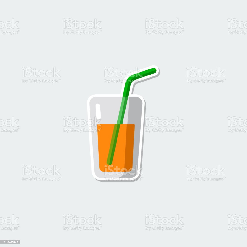 Colorful symbol - glass of juice vector art illustration