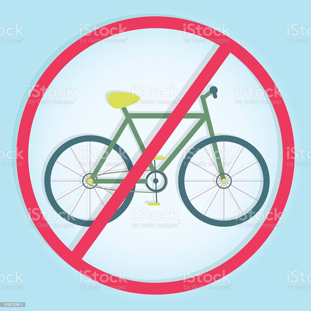 Colorful symbol prohibiting bicycles vector art illustration