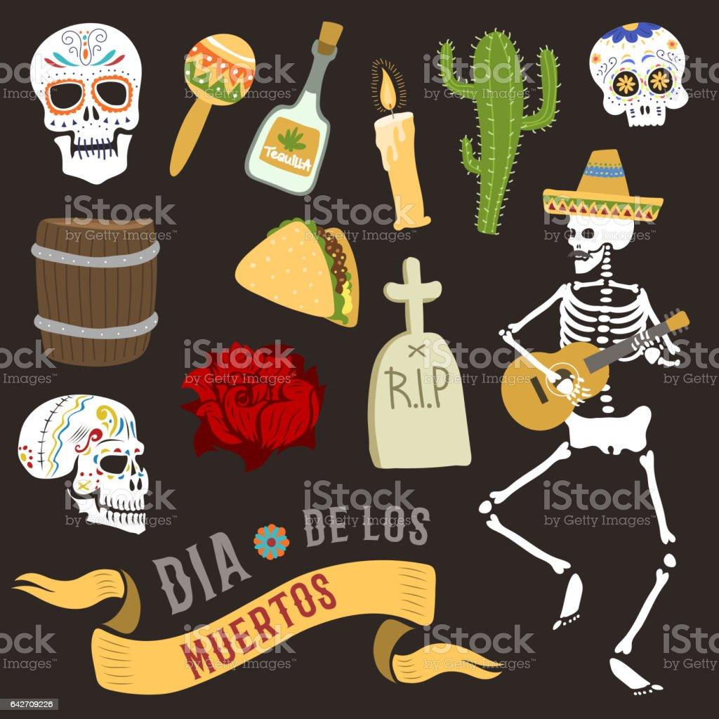 Colorful symbols for dia de los muertos day of the dead vector vector art illustration